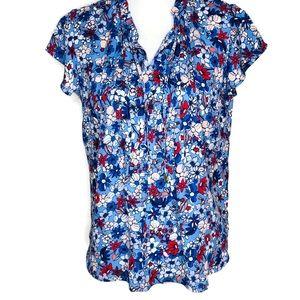 Liz Claiborne petite small blue blouse.  Flowers